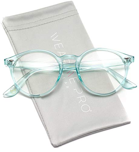 WearMe Pro - Clear Lens Semi Transparent Clear Frame Colorful Glasses (Clear Blue, 49)
