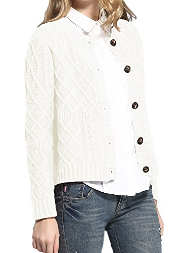 v28 Women Vintage Cotton Cable Knitted Button Long Sleeves Coat Sweater Cardigan (Medium, White) -