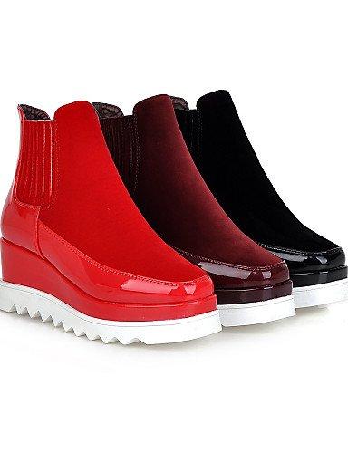 Botas us10 Punta A Black negro La Patentado Cn43 Cuero Zapatos Mujer Vestido Moda Cuñas Xzz 5 5 Eu42 Uk8 Vellón Burgundy us10 De Casual Tacón Cuña Cuadrada 5 Tx8wUCHqYU