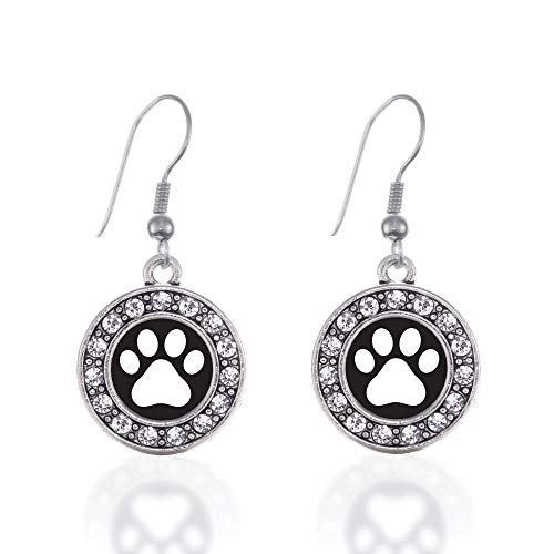 NOUMANDA Lovely Circle Pet Dog Paw Print Dangle Earrings Silver Tone Animal Footprint Drop Ear Charm Gift for Women Girls Puppy Lovers (Puppy Dangle Earrings)
