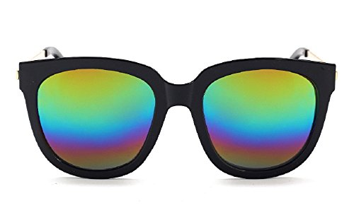 Unisex JTS9244 Oversized Thick Rim Metal Temple Aviator Sunglasses (C3-black+rainbow , - Aviators Rim Thick