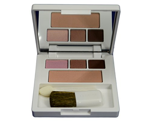 Clinique All About Shadow Trio (16 Day Into Date (Single Shade), 14 Strawberry Fudge (Duo)) + Soft-Pressed Powder Blusher (04 Pink Blush) Colour Compact