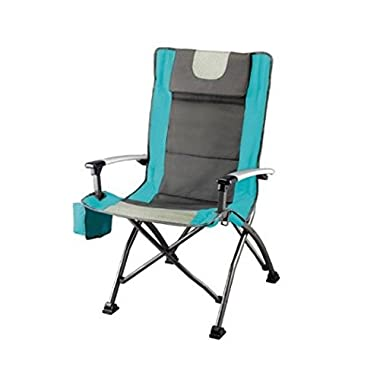 Ozark Trail High Back Chair, Turquoise, Ultra Durable Steel Frame, Adjustable Feet, With Cup Holder, Perfect Seat for Outdoor, Camping and Picnic