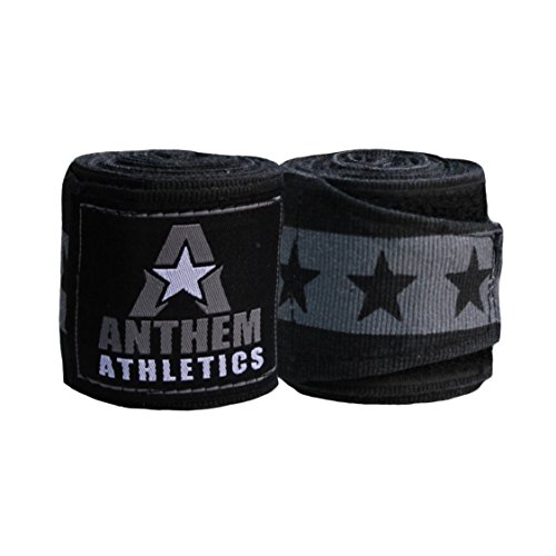 NEW! Anthem Athletics RAPTOR 180' Muay Thai / Kickboxing / Boxing Handwraps - Black and Grey With Stars