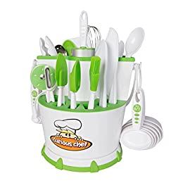 Curious Chef  30-Piece Chef Caddy Collection 115 Curious Chef 30-piece Caddy Collection - everything a young chef needs for cooking - packaged in a handy Tool Caddy with a rotating, nonslip base Includes rolling pin, pizza cutter, whisk, measuring cups and spoons and more! For a complete list, please see the Product Description below Cooking reinforces math, measurement, science and teaches children the importance of following directions