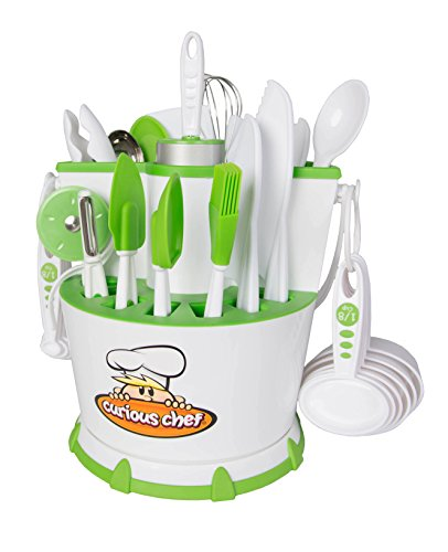 Real Kitchen Tools and Cookbook for Kids - Curious Chef 30-Piece Chef Caddy Collection