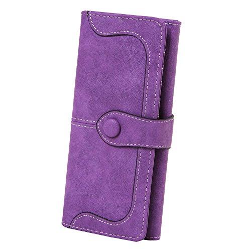 Women's Vegan Leather 17 Card Slots Card Holder Long Bifold Checkbook (Designer Ladies Wallets)