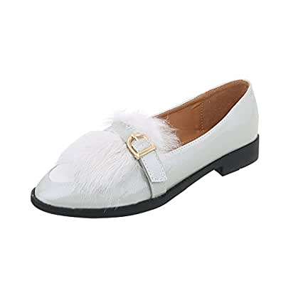 Zapatos para mujer Mocasines Tacón ancho Slipper Gris Tamaño 36