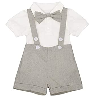 IBTOM CASTLE Baby Boys Formal 1st Birthday Dress Gentleman Outfits Wedding Suit Cake Smash Bowtie Baptism Clothes - Grey - 12-18 Months