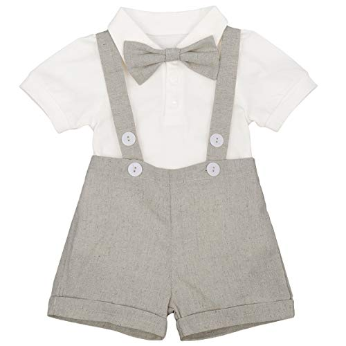 Newborn Baby Boys Formal Suit Gentleman Tuxedo Outfit Bow tie Romper Jumpsuit Overalls Suspenders Cotton Birthday Cake Smash Short Sleeve T Shirt Wedding Christening Bib Pants Clothes Grey 6-12 M ()