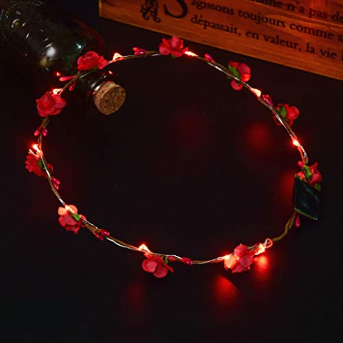 Glumes LED Flower Crown, Led Flower Wreath Headband Luminous LED Flower Headpiece Flower Headdress for Girls Women Wedding Festival Holiday Christmas New Year Party ()