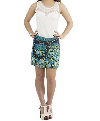 Sunsa Damen Rock Sommerrock Wickelrock Minirock Wenderock aus Baumwolle 3 in 1, verstellbare Größe