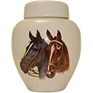 Horse Heads Funeral Urn - Cremation Urn for Human Ashes - Hand Made Pottery