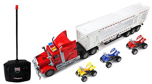 Racing 500 Trailer Remote Control RC Transporter Semi Truck Ready to Run w/ 3 Toy ATVs (Colors May Vary)