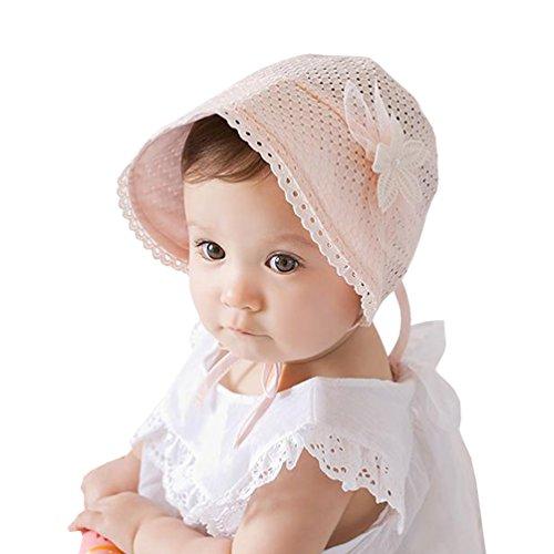 SuperMagic Royal Lace Flower Babys Girls Newborns Breathable Sun Hat Sunbonnet for Summer Outdoors (Pink)
