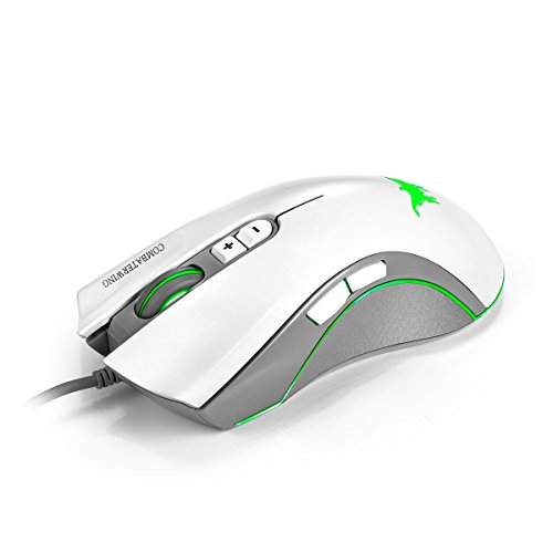 Combaterwing CW10 4800 DPI Wired Gaming Mouse Mice 7 Buttons Design 6 Breathing LED Colors Changing High Precision for…