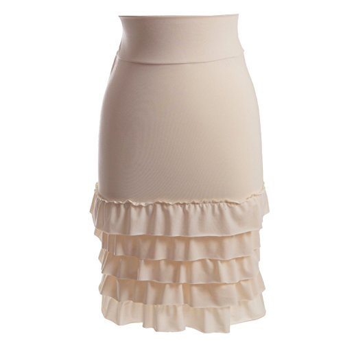 Peekaboo-Chic Bring on The Frill Half Slip Skirt Extender (Cream, l/XL) Cream Ruffle