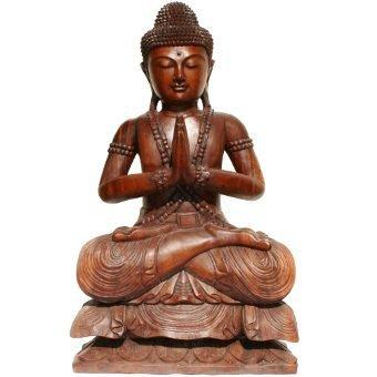 gussender sitzender buddha holz namaste geste hohe ca 85 cm