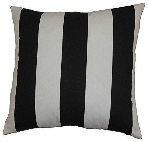 100% Baumwolle Schwarz & Weiß Gestreift Kissen, Größe 45,7x 45,7cm einzelnen oder Sets
