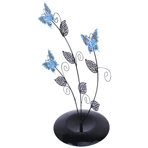 Blue Butterfly Tree Leave Shape Jewelry Stand Earring Holder Organizer Display Rack - Star Shape Wire Earrings