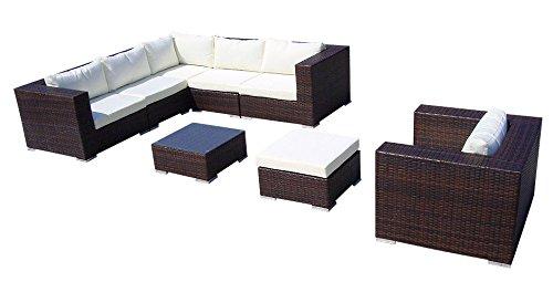 Baidani 10c00006.00002 Gartenmöbelset, Designer Lounge-Liege Gardendream, Ecksofa, 1 Sessel, 1 Hocker, 1 Couchtisch mit Glasplatte, braun