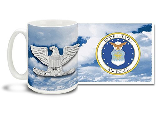 U.S.A.F. Colonel Air Force Officer Ranks - CUSTOMIZABLE 15 oz Large Ceramic Coffee Mug VIVID FULL-COLOR ()