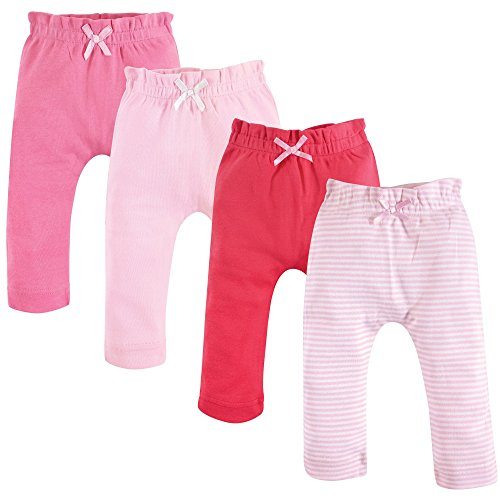 Touched by Nature Baby Organic Cotton Pants, Pink Coral 4Pk, 0-3 Months (3M)