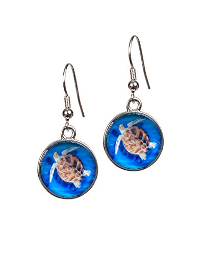 Animal Earrings - Taken From Original Paintings, Support Wildlife Conservation, Read How, French Hook Ear Wire Earrings, Hypo-Allergenic (Loggerhead Sea Turtle - The ()