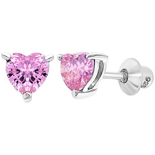 - 925 Sterling Silver Heart Baby Earrings Screw Back Girls Toddlers CZ