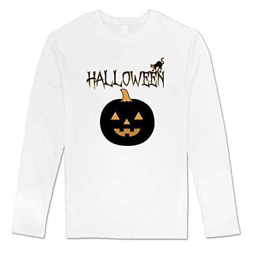 Sasha Men's Halloween Pumpkin T-shirt White 100% Cotton (Halloween Cutouts For Pumpkin Carving)