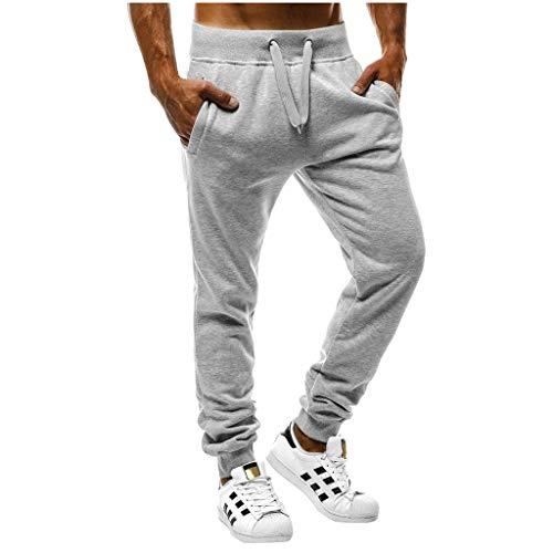 F/_Gotal Men/'s Casual Plain Elastic Waist Drawstring Sports Running Jogger Pants Trouser with Pockets Mens Sweatpants