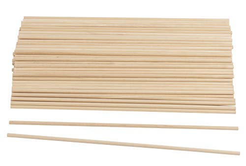 Wood Dowel Rods - 100-Pack Wood Sticks, Unfinished Hardwood Dowels, Craft Woods, for DIY Craft Art Projects, Gardening, Planting, Weddinhg Ribbon Wands, 0.19 Inches Diameter, 12 Inches Long ()