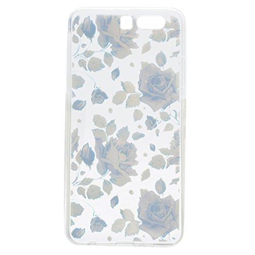 Funda Huawei P10 Plus, Ronger Carcasa Transparente Suave Estilo TPU [Patrón Vistoso Nuevo] Caja Protector Liso Funda del Teléfono Móvil Ultra Delgado [Cristal Liquido] Carcasa Silicona Anti-Rasguños A Rosa Azul