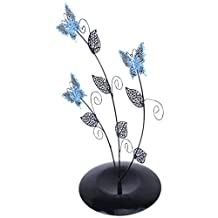 Blue Butterfly Tree Leave Shape Jewelry Stand Earring Holder Organizer Display Rack
