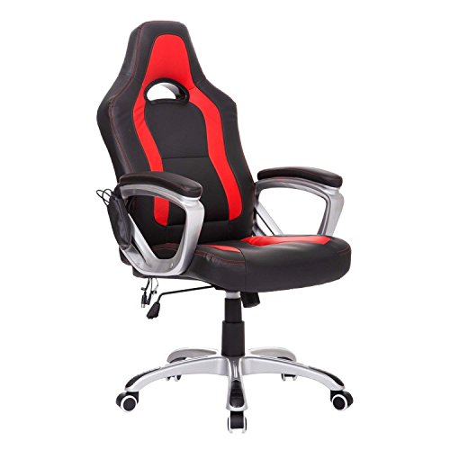 HOMCOM High Back Racing Style Massage Ergonomic Gaming Chair - Red/Black (Massage Heated Chair)
