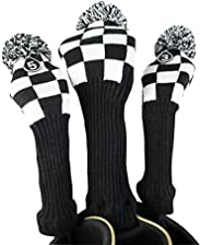 Hauni Stripes Knitted Golf Headcovers 3 Piece Set, Numbered 1, 3, 5 Driver and Fairway Head Covers Fits 460cc