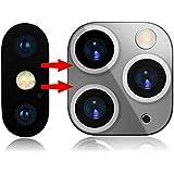 ために iPhone X/XS/XS MAX秒に適用可能11秒に変更されるPro MAXカメラレンズカバー、ステッカーアップグレードメタルステッカーカメラレンズ強化ガラススクリーンプロテクター (銀)