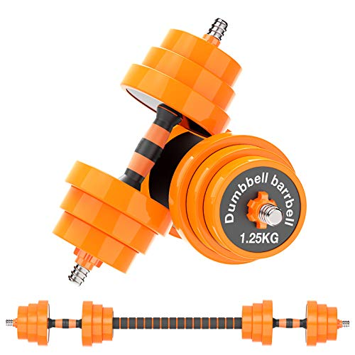 Gruper Adjustable Dumbbells Barbell Set of 2, UP to 44/66 /88 lbs Free Weight Set with Steel Connector, 3 in 1 Dumbbell…