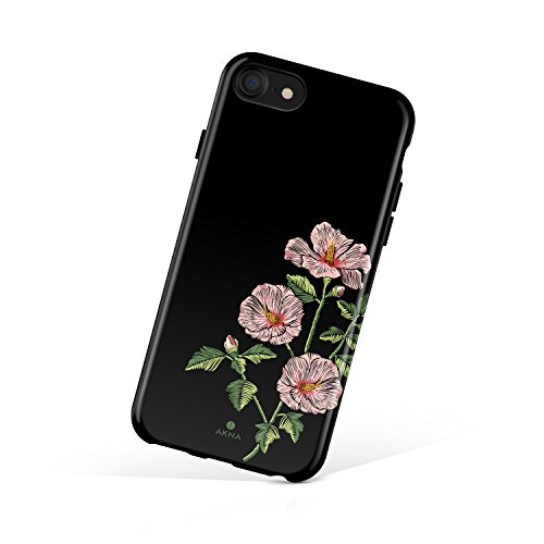 iPhone 8 & iPhone 7 case for girls, Akna Collection Flexible Silicon Cover for both iPhone 8 & iPhone 7 [Embroidery Hibiscus](719-U.S) (Embroidery Case)