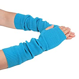 Zeltauto Women's Knit Elbow Length Arm Warmer Thumb Hole Fingerless Glove