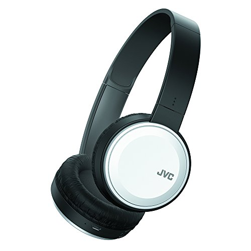 JVC Wireless Lightweight Flat Foldable On Ear Bluetooth Wireless Headband with Mic, White (HAS190BTW)