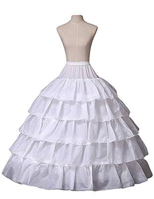 Miranda's Bridal Women's Floor Length 4 Hoops Ruffles Bridal Wedding Petticoat Tiered Ball Gown Underskirt