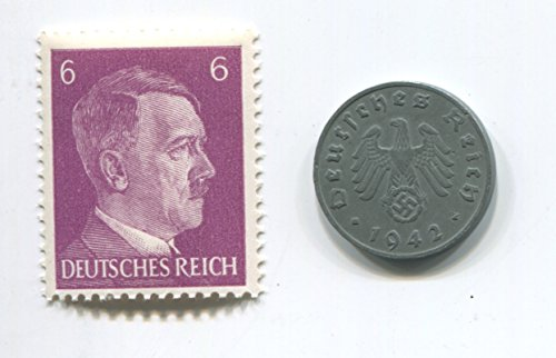 Rare Nazi Swastika 1 Reichspfennig German Coin World War Two WW2 with Purple Hitler Head Stamp MNH