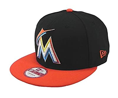 New Era Hat 9fifty Miami Marlins Major Snapback Black/orange Cap Medium/large