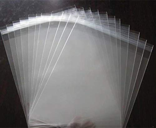 L-BOST 200 Crystal Clear Resealable Plastic Bags/Clear Resealable Poly Cello Cellophane Bags - 100 Bags Per Size - 4 x 6, 5 x 7. 5 x 7.