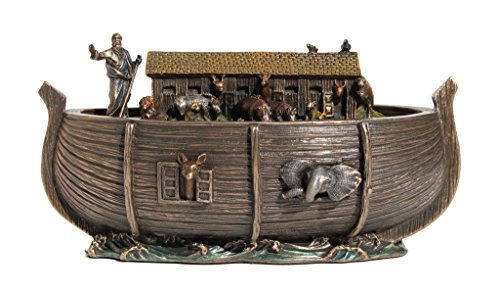 Noah's Ark Trinket Box Statue Figurine Cold Cast Bronze