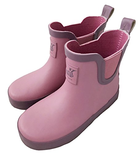 Rongee Pink Chelsea Slip On Short Ankle Rubber Rain Boots With Elastic Gore and Safe Light Reflective Mark(11 M US Little Kid) (Pink Chelsea)