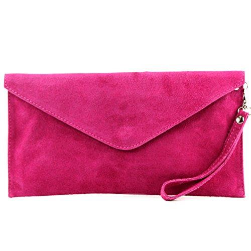 modamoda de T106 - Clutch de piel italiana, bolso de mano, bolso de noche, ante Rosa