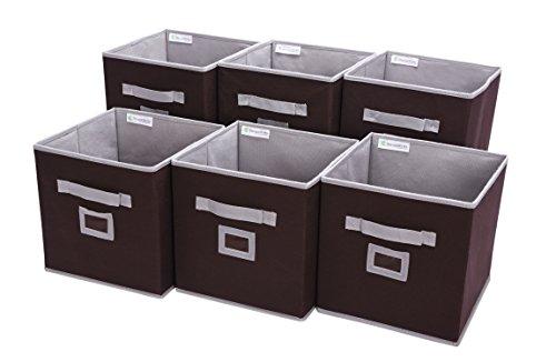 Brown Stackable (Storage Cube Box, Fabric Storage Bin By StorageWorks, Espresso, Medium, 6-Pack, 10.6x10.6x11.0 inches)