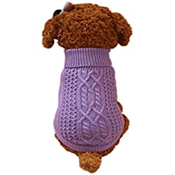 Mikey Store Pet Dog Sweater For Small Dogs Puppies (Purple, XS)